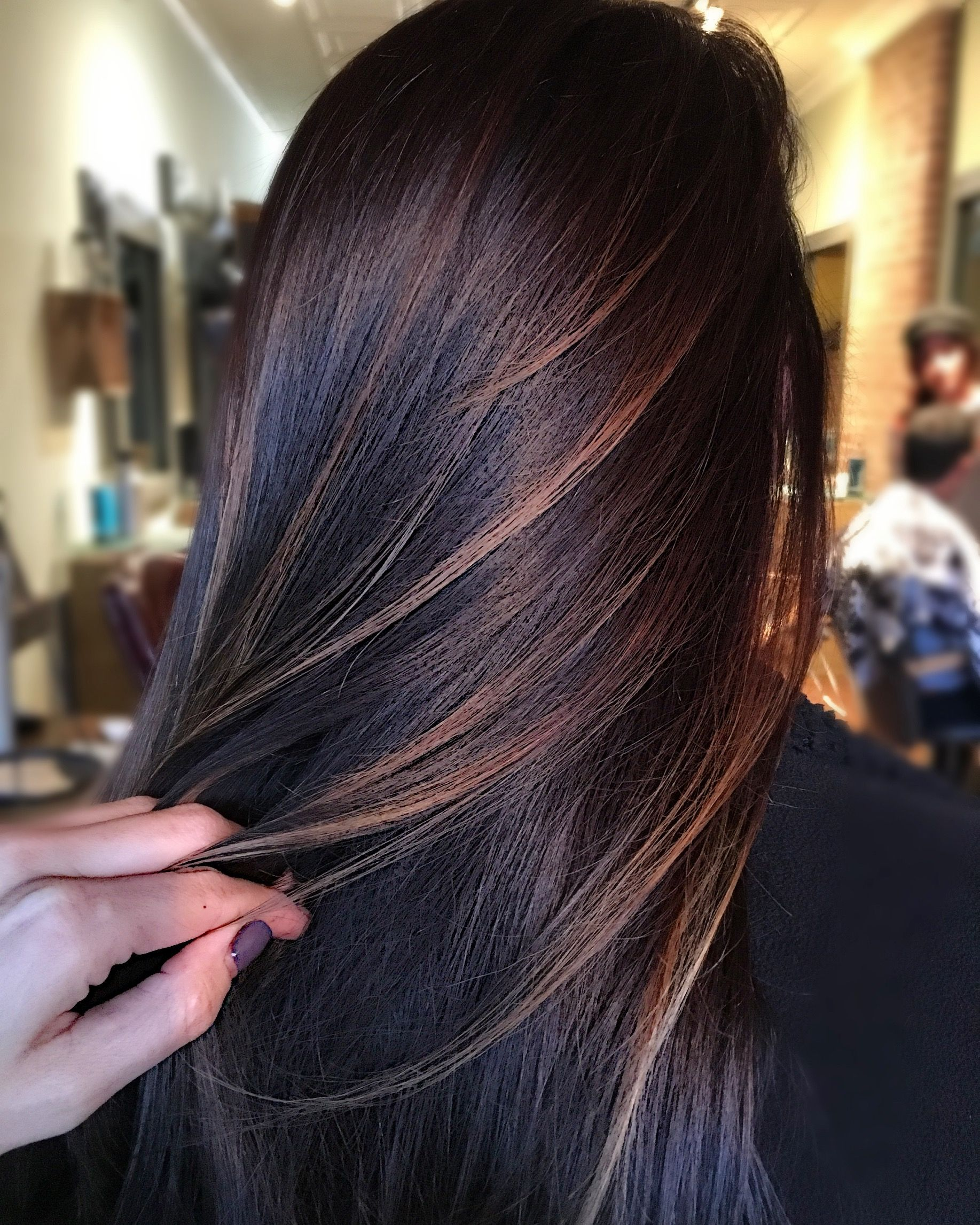 Dark Brown Balayage Brunette Hair Color With Highlights Brown