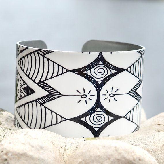 Geometric Pattern Cuff Doodle Art Cuff Adjustable Metal Cuff Black and White Doodle Cuff Aztec Cuff Custom Printed Cuff Bracelet