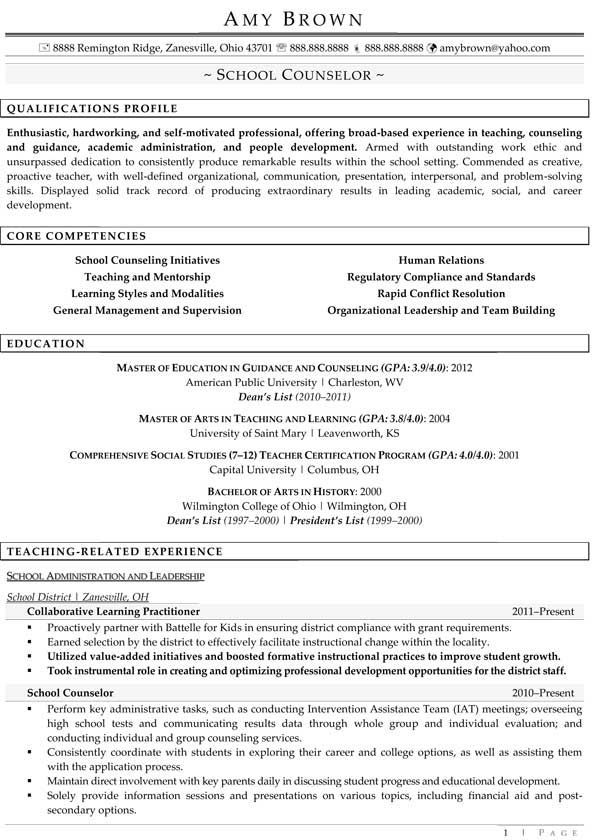 professional school counselor resume guidance sample