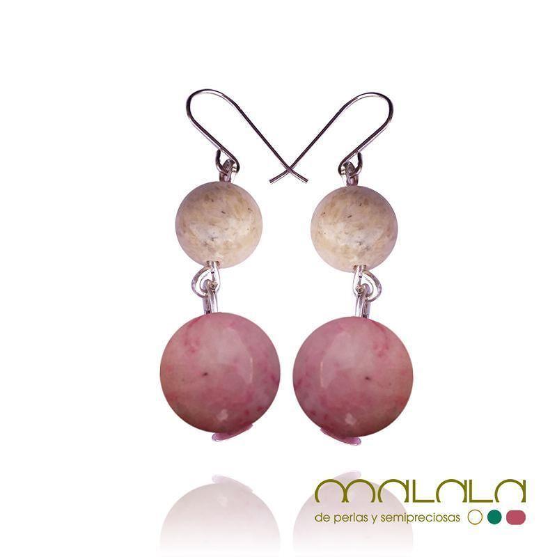 #pendientes de piedra fósil rosa y beige entretejida con hilo de #plata. 35. Disponibles en tienda online: http://ift.tt/1qTJDY3  #earings #aretes #accesorios #complementos #DiseñosPropios #especial #fashionblogger #handmadejewel #hechoamanoconamor #instamode #jewelry #joyas #joyasdediseño #joyasunicas #joyeriadeautor #ponteguapa #regalosconencanto #specialgift #natural #personalizado #piedrassemipreciosas #regalo
