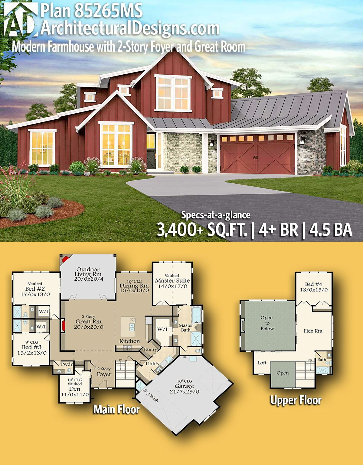 Plan 85265ms Modern Farmhouse With 2 Story Foyer And Great Room Modern Farmhouse Plans Basement House Plans House Plans Farmhouse