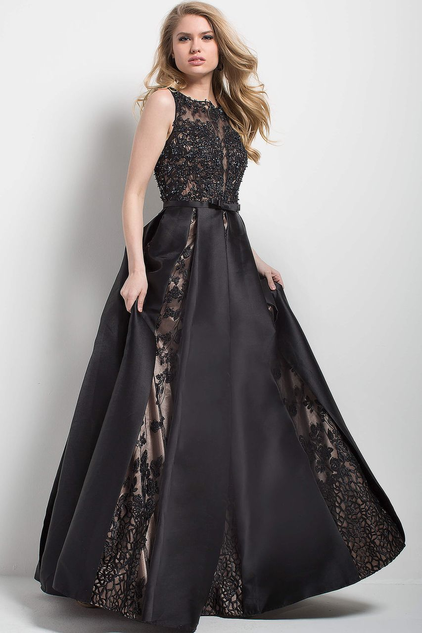 Jovani lace embellished bateau ballgown in black and neutral