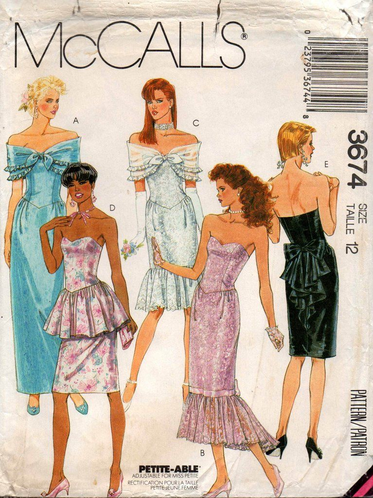 96008d6660ea McCall s 3674 Womens Strapless Evening Prom Formal Gown   Shawl 80s Vintage Sewing  Pattern Size 12