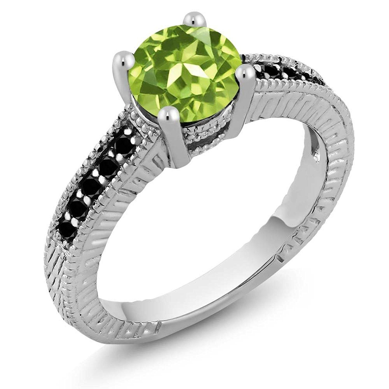 ct round green peridot and black diamond sterling silver