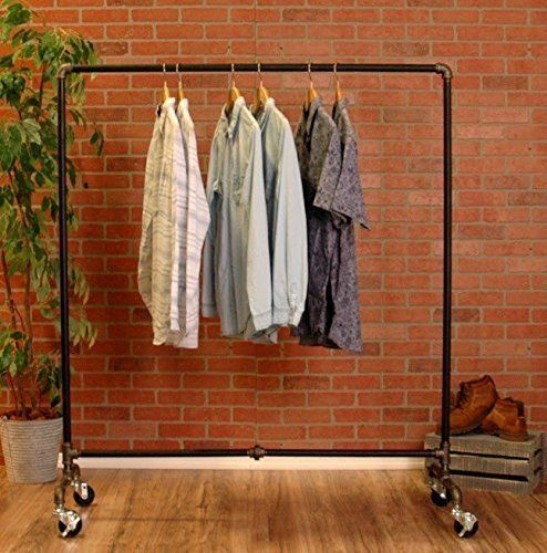 Industrial Pipe Rolling Clothing Rack by William Robert's Vintage >>> See this great product.