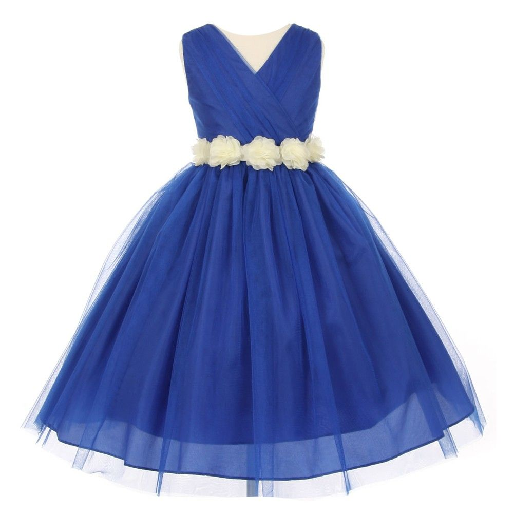 Little Girls Royal Blue Ivory Chiffon Floral Sash Tulle Flower Girl