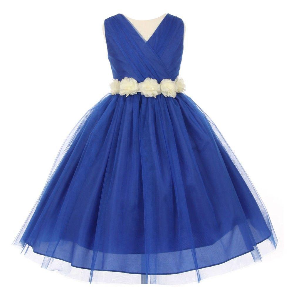 Little Girls Royal Blue Ivory Chiffon Floral Sash Tulle Flower ...