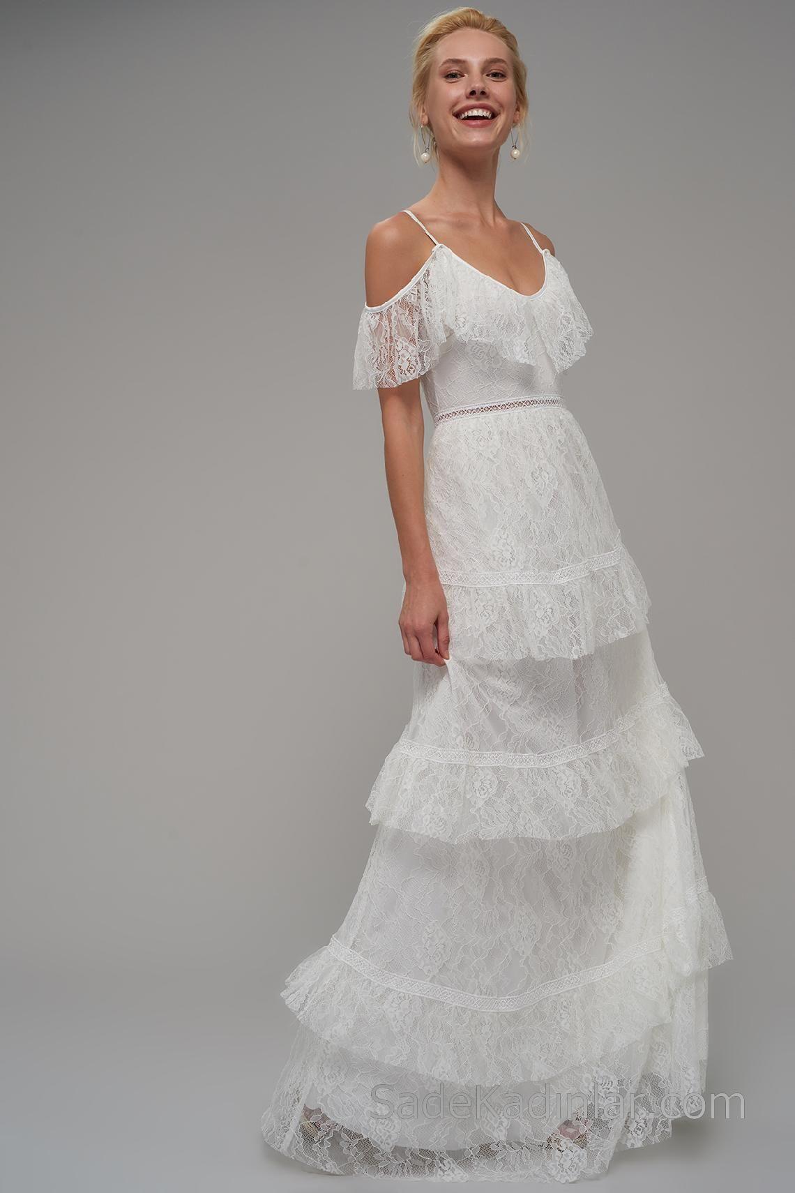 2020 Abiye Elbiseler Beyaz Askili Etekleri Katmanli Dantelli Elbiseler The Dress Elbise Modelleri