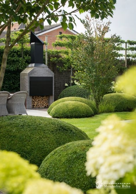 Large Buxus Hedges In A Modern Garden