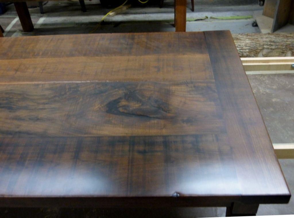 Rustic Black Walnut Modern Harvest Table In Shop