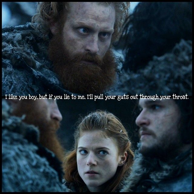 """Tormund is asking Jon how many men  of the Night's Watch currently are there to protect the Wall. Jon answered to that with """"a 1.000 men"""" (if I remember right). Orell called him a liar. When he warged into an eagle and watched out for men of the Night's Watch, he saw less than 1.000 men. Then Tormund warns Jon. He won't... accept any liars in his team. --- Ygritte's face though. She always wanted to protect him. --- #tormundgiantsbane #kristoferhivju #jonsnow #kitharington #ygritte…"""