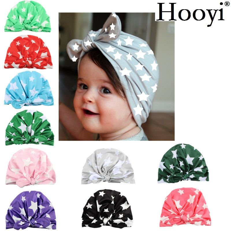 Baby Kids Dot Bow Elastic Infant Cap Hat Turban Candy Color Hair Accessories New