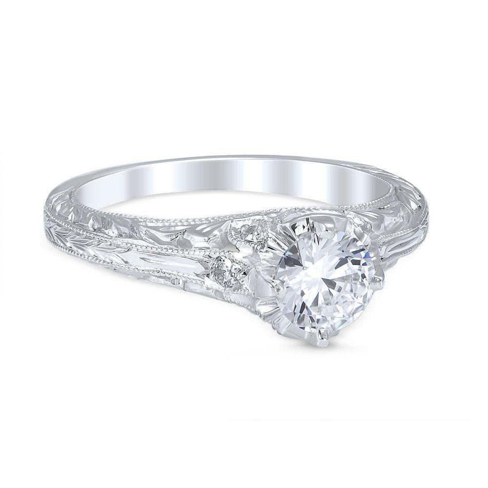 Vintage style novara die struck cttw diamond engagement ring