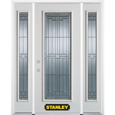 Stanley Doors 64 In X 82 In Full Lite Pre Finished White Steel Entry Door With Sidelites And Brickmould 15 Steel Entry Doors Stanley Doors Exterior Doors