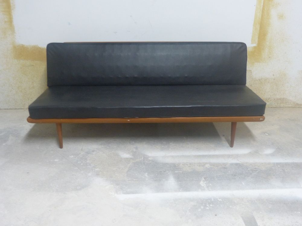 super 1950s mid century modern danish peter hvidt daybed or sofa with black leather sold as - Mid Century Modern Furniture Of The 1950s