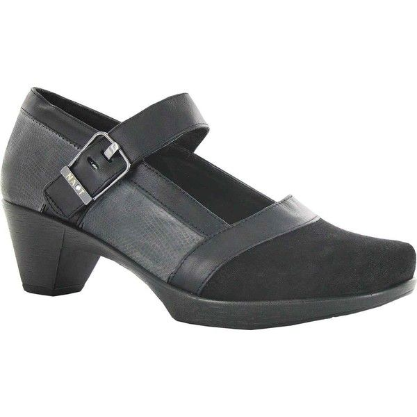 Naot Women's Dashing Mary Jane, Size: 37 M, Shiny Black/Reptile Grey Leather /Raven Leather