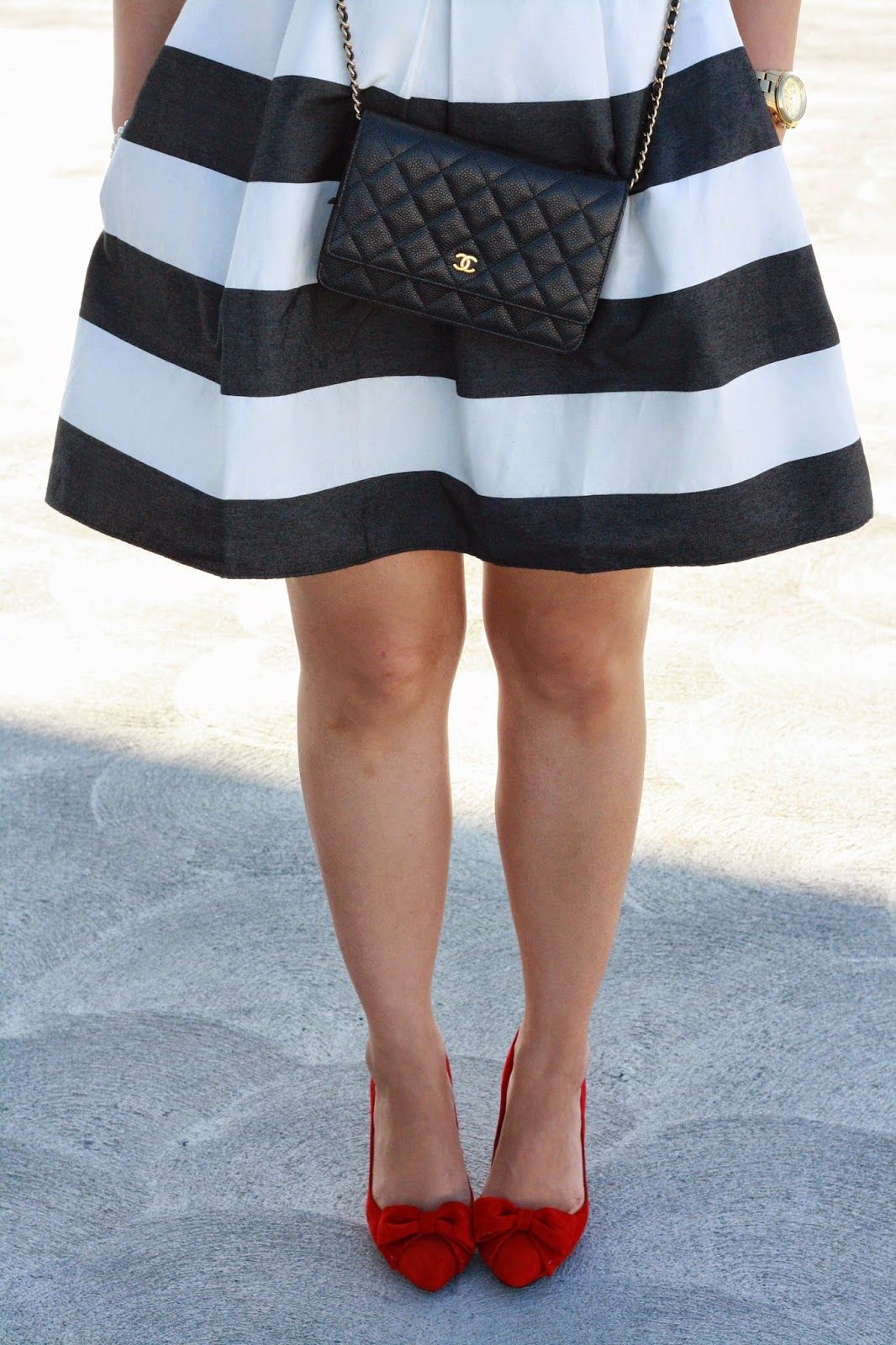 Simplyxclassic stripe gap dress red bow pumps chanel wallet on