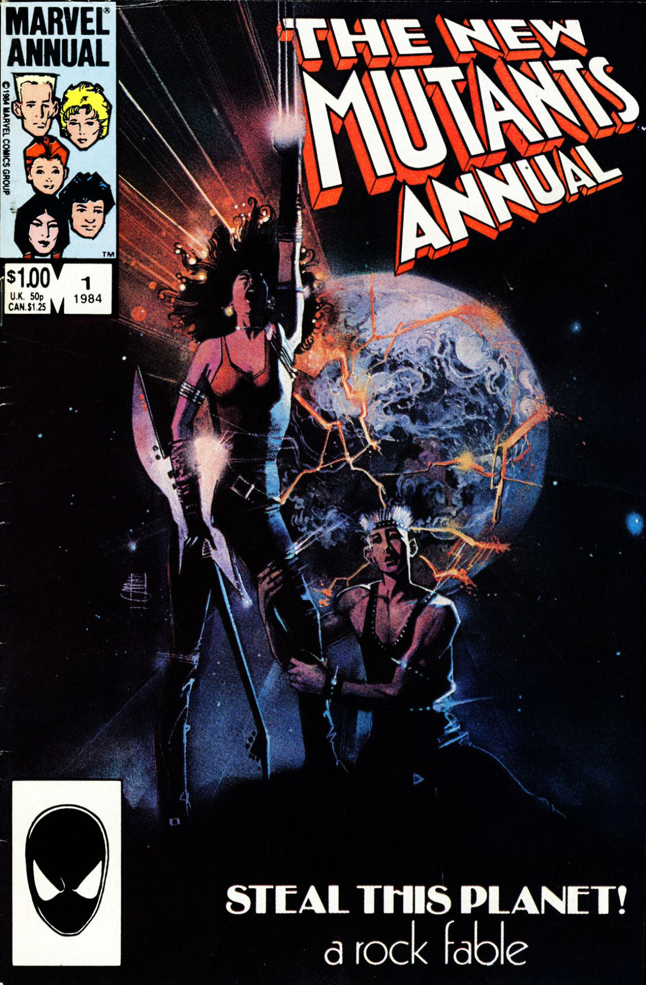 """Steal this planet!"" - The New Mutants Annual #1, 1984, cover by Bill Sienkiewicz"