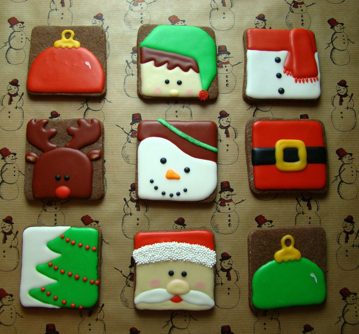 Christmas Squares hand decorated cookies, royal icing