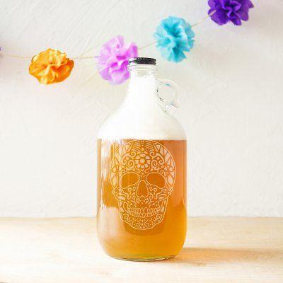 Cathys Concepts Sugar Skull 64 oz. Craft Beer Growler -   19 crafts beer growler ideas