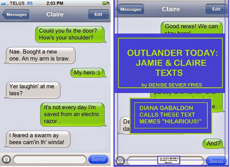 Jamie & Claire Texts: My 'outlander Today' Memes Ebook! Amazon Or Go