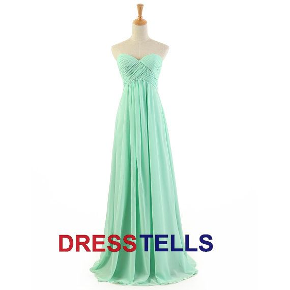 long Green Summer Chiffon Beach Dress/ Bridesmaid Dress/chiffon Bridesmaid Dress/long prom dress/Chiffon Prom Dress/ Long Evening dress