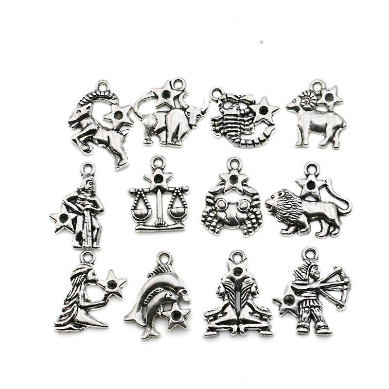 12 stücke Antikes Silber Überzogene Tierzeichen alle Konstellation Charme Zink-legierung Anhänger Schmuck DIY Machen Zubehör Handgefertigten 20mm