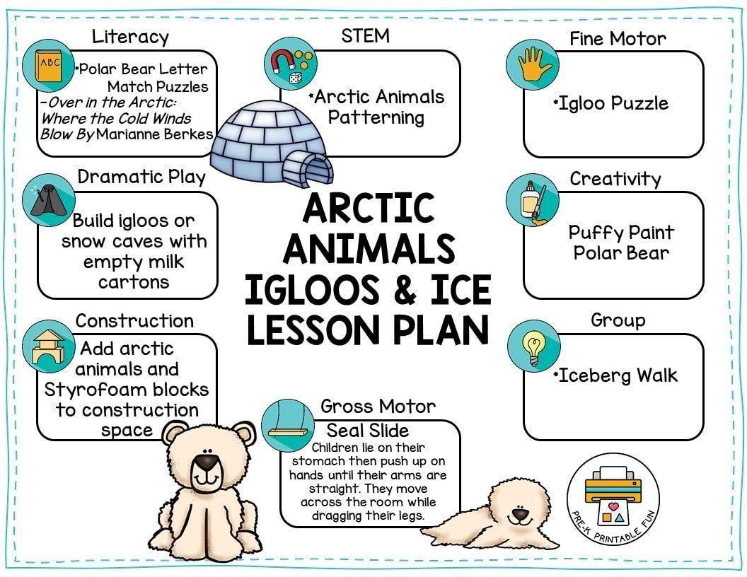Free Prekprintablefun Arctic Animals Igloos And Ice