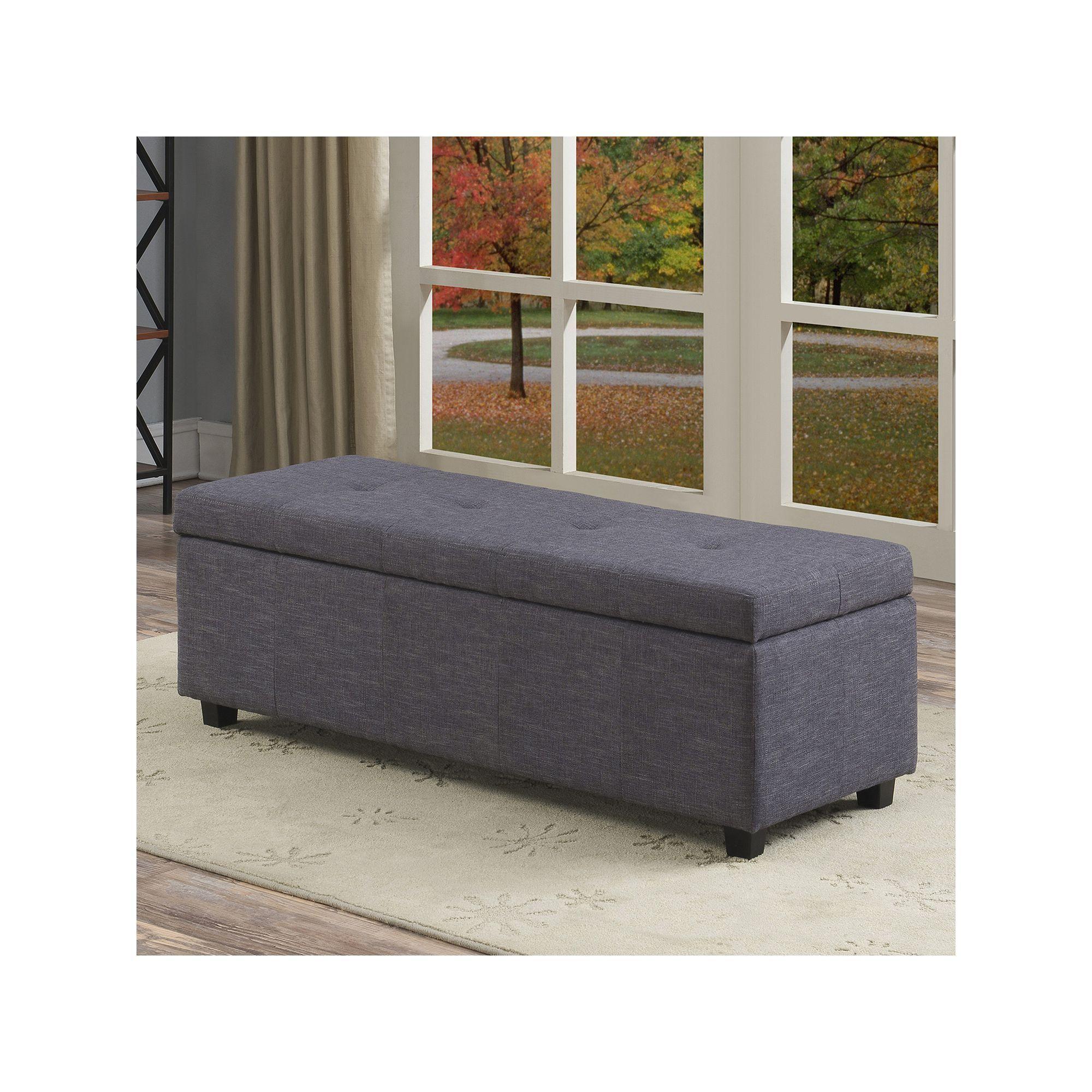 Fabulous Simpli Home Castleford Large Rectangular Storage Ottoman Short Links Chair Design For Home Short Linksinfo