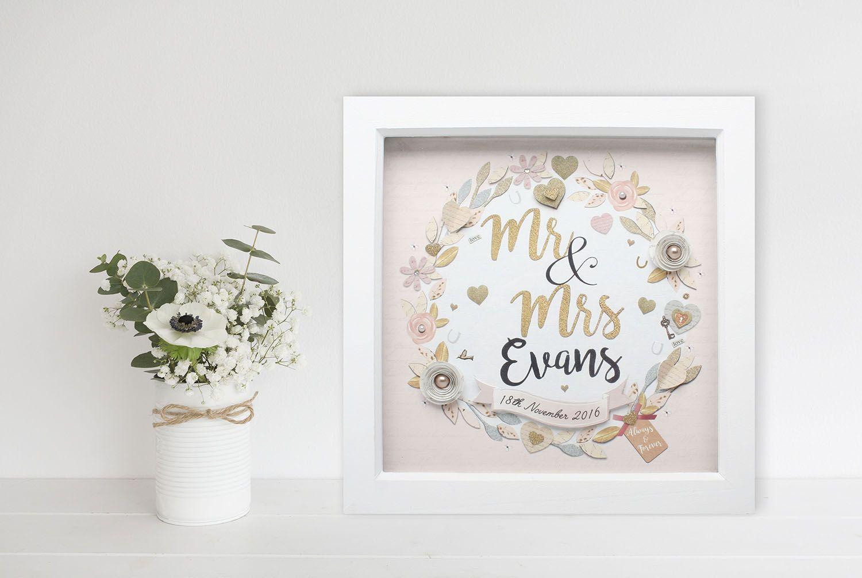 Personalised Wedding Keepsake Frame Personalised Mr Mrs Frame