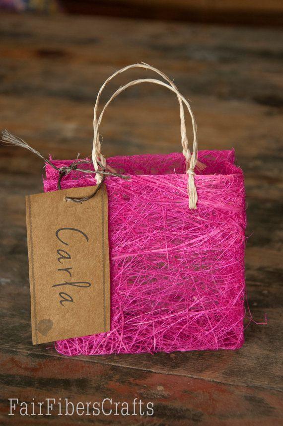 Wedding Favors Bag Handmade Abaca Natural Fiber 4 X 4 X 15