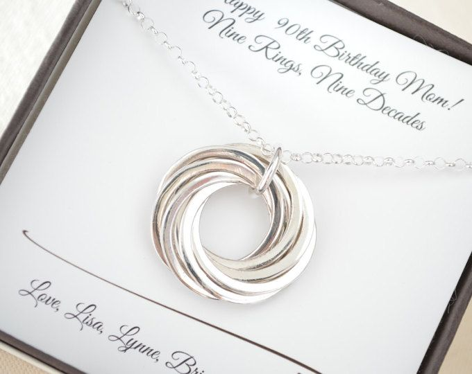 90th Birthday Gift For Grandmother Necklace Jewelry 9th Anniversary Her