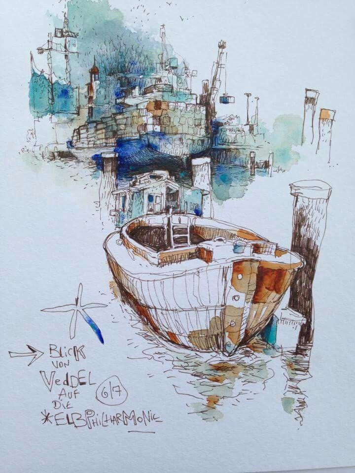 Felix Scheinberger Watercolor Art Urban Sketching Sketch Painting