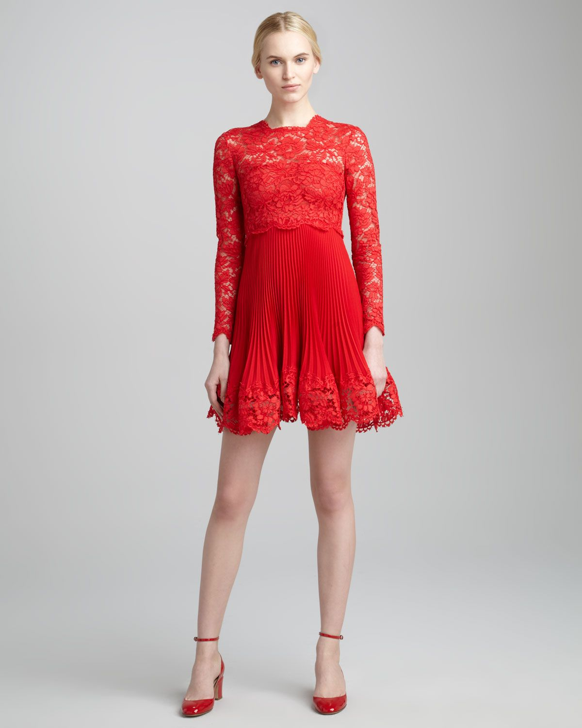 Valentino - Long-Sleeve Lace Plisse Dress, Rosso | Dresses ...