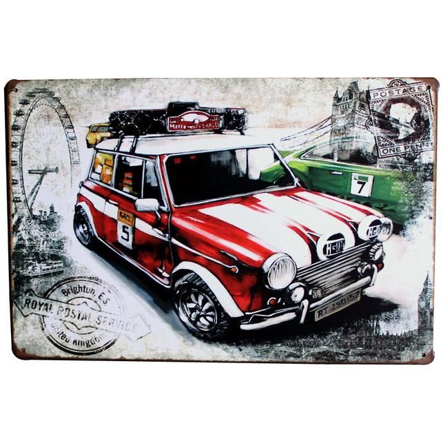 Vintage Car Motorcycles Garage Metal Tin Sign Bar Pub Home Wall Decor Shabby Chic Art Poster Plaque Plate 30x20cm A London Canvas Art Shabby Chic Art Mini Cars