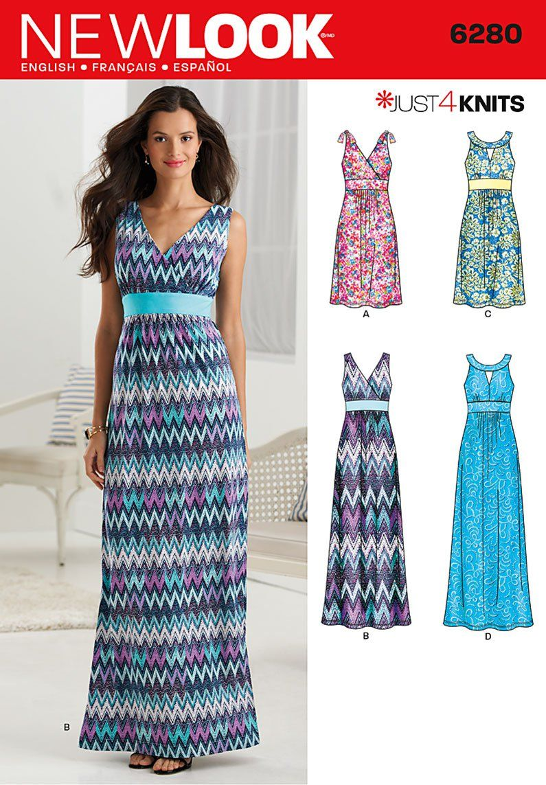 New Look 6280 Misses\' Knit Dress in Two Lengths with Bodice Variations