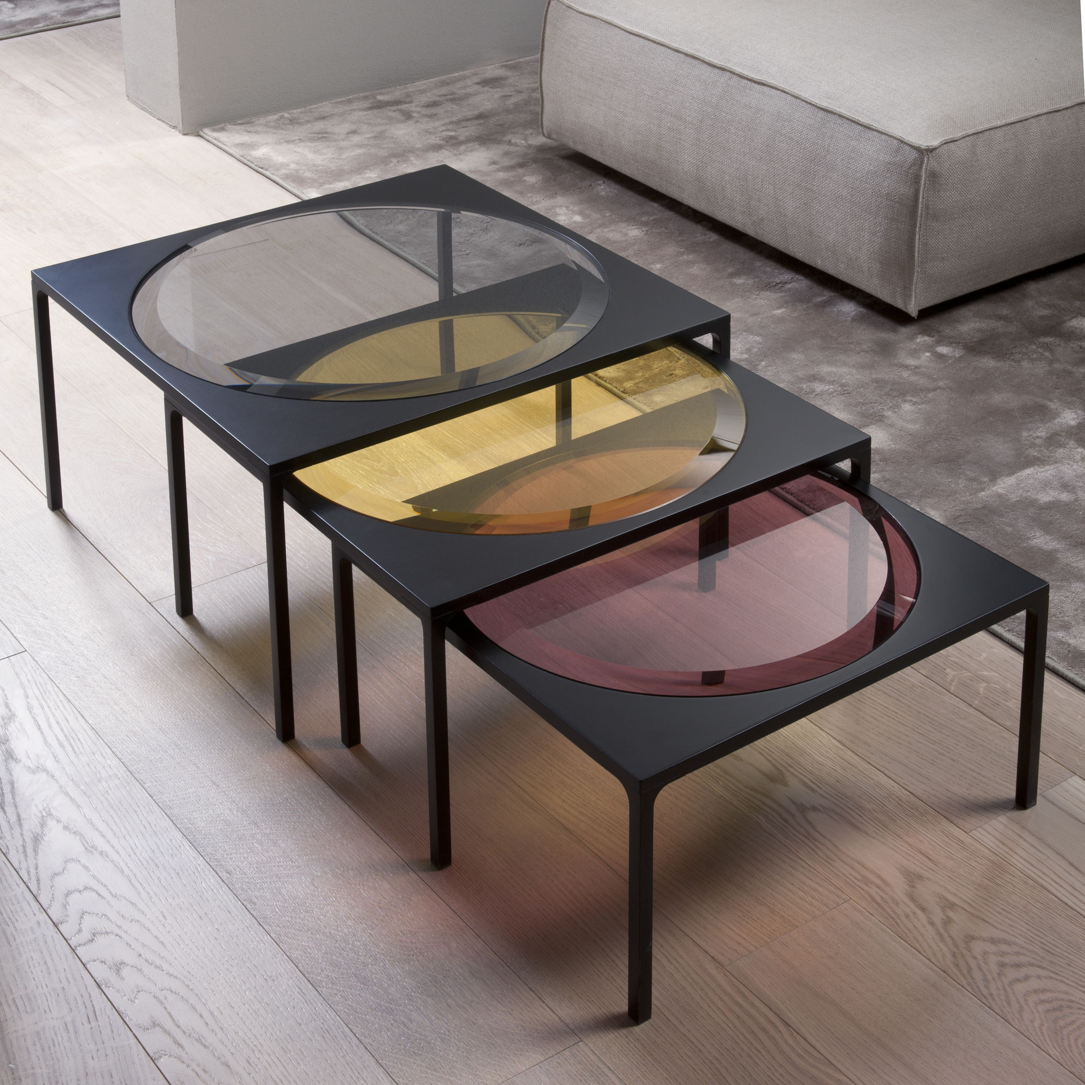 Rulli Coffee Table With 12mm Bevelled 3cm Glass Top Available Stratified Glass In The Colours Smoke Ambe Coffee Table Design Coffee Table Glass Furniture [ 3744 x 3744 Pixel ]