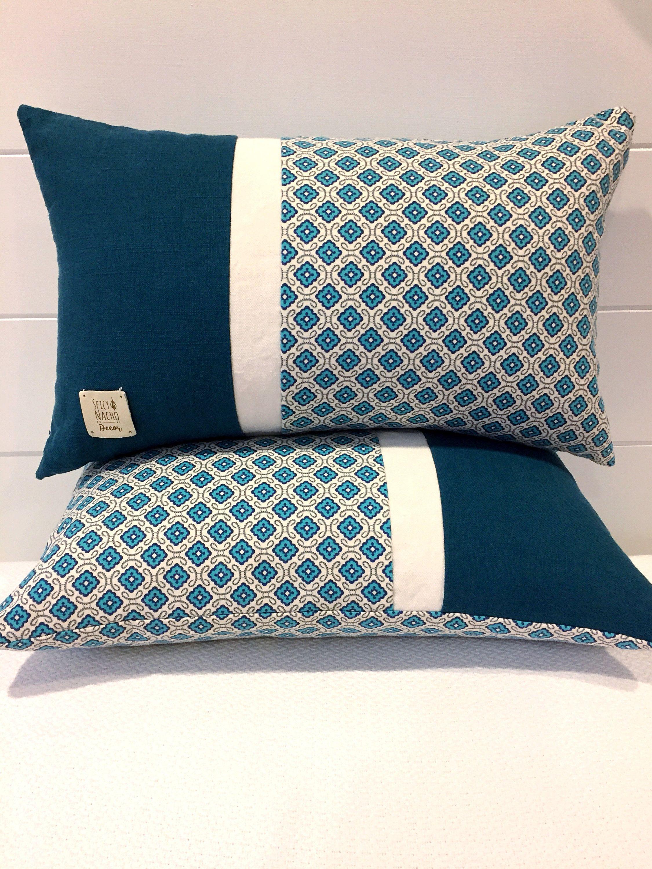 Housse De Coussin En Lin Bleu Sarcelle 12x20 30 5 X 50 8 Cm Housse De Coussin Bloc De Couleur Unique Pillows Pillows Cushion Cover Designs