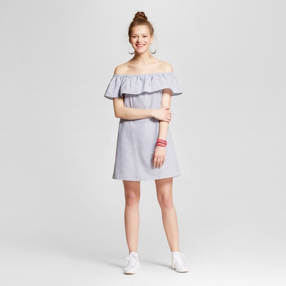 89f123443820 Women s Stripe Off The Shoulder Dress - Lots Of Love By Speechless (Juniors )  Denim L