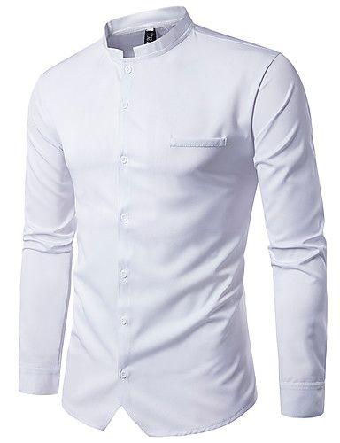 5198ad2631 Masculino Camisa Social Casual Moda de Rua Sólido Poliéster Colarinho  Chinês Manga Longa de 6072107 2017 por R 41
