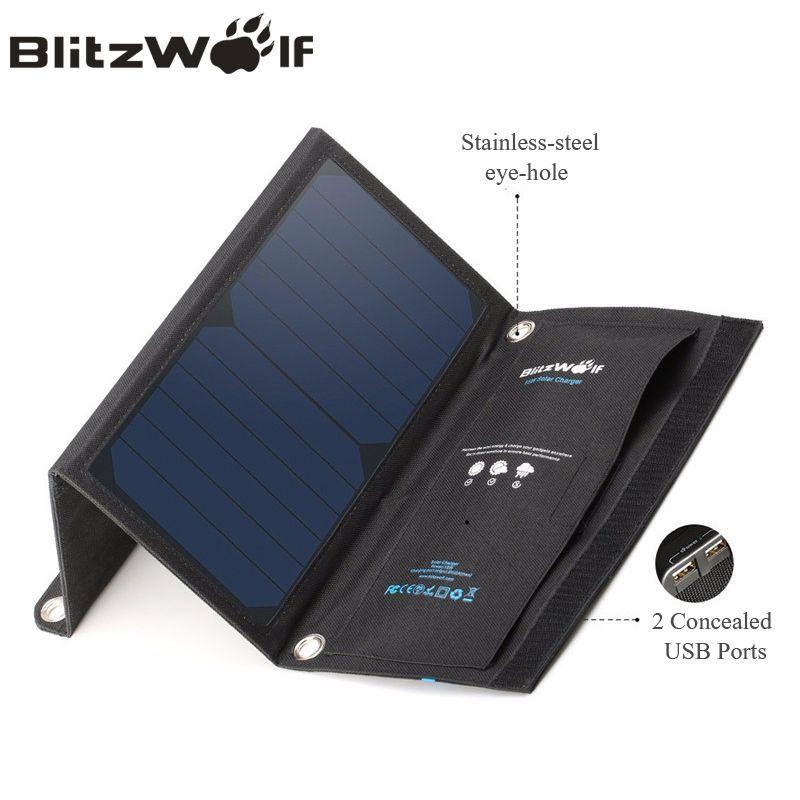 Blitzwolf 15 Vt Solnechnoj Energii Bank Portativnoe Zaryadnoe Ustrojstvo S Dvumya Usb Solnechnye Paneli Portable Usb Charger Solar Power Charger Solar Power Bank