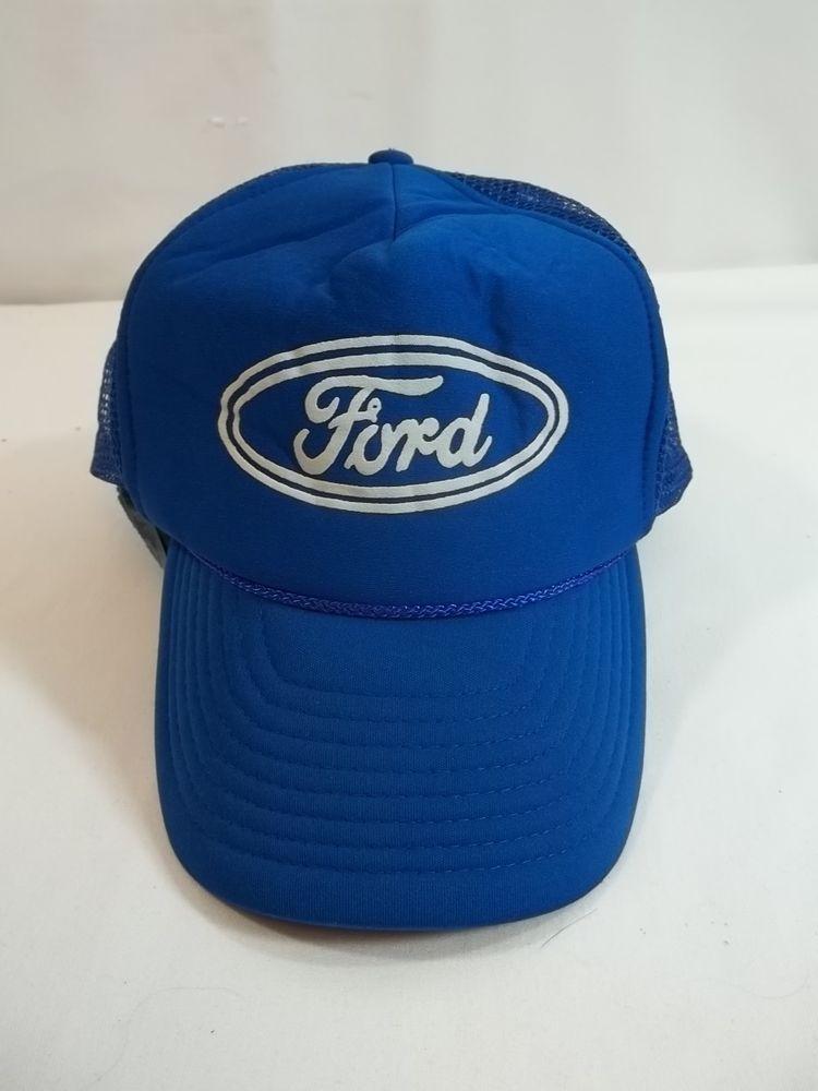 Vintage Ford Cap Hat Mesh Snapback Trucker Blue  Nissin  BaseballCap ... 6426353ffef
