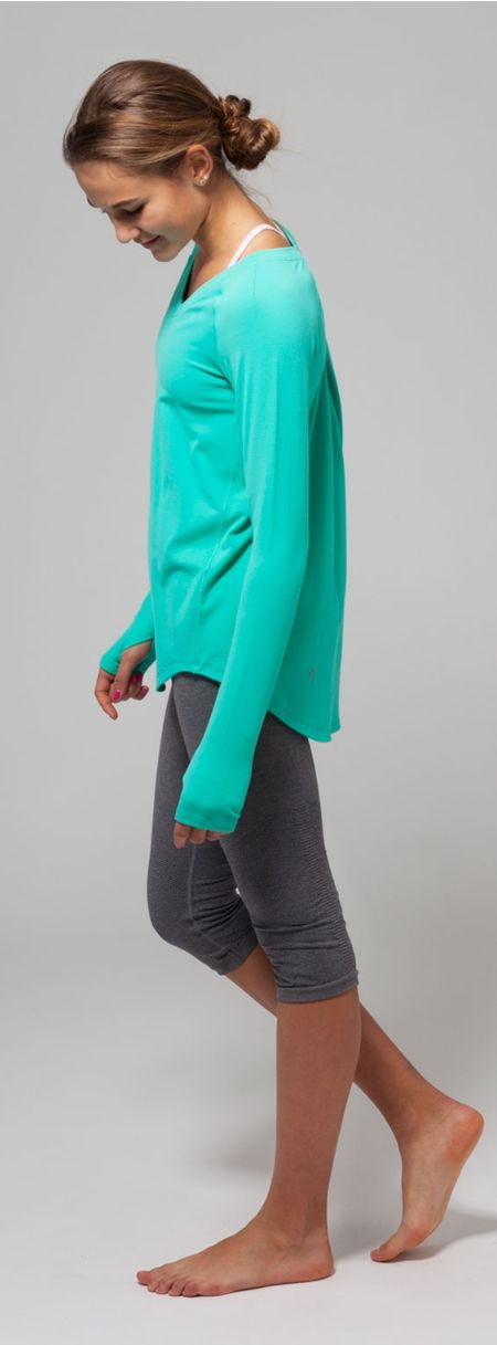 longer back hem gives you bum coverage to and from practice. | Get Up And Go Long Sleeve