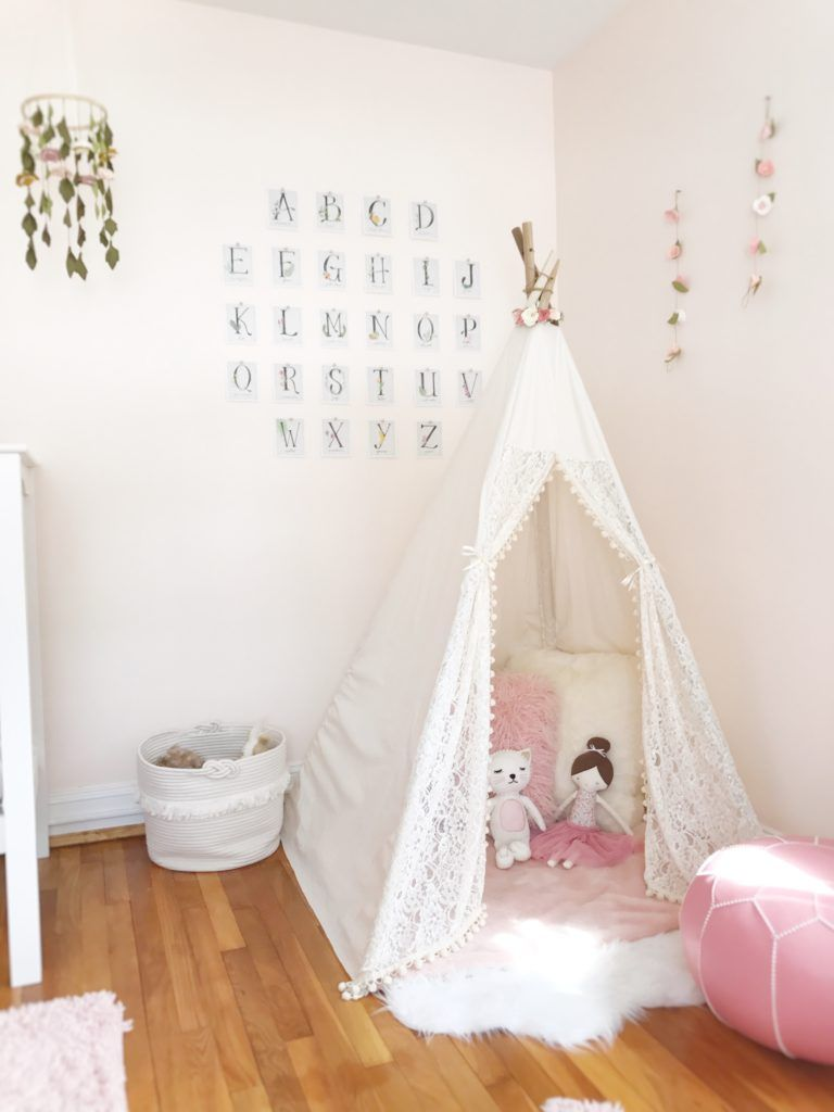 Feminine Floral Toddler Transition Bedroom Pink Walls Girls Room