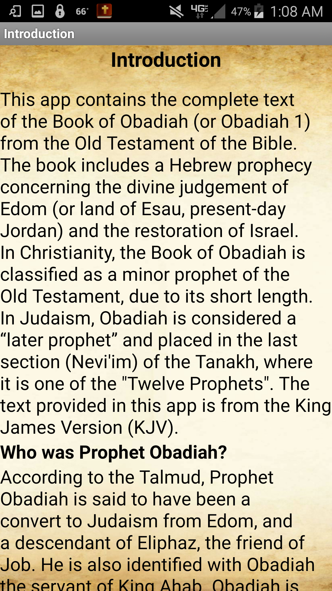 This app contains the complete text of the Book of Obadiah