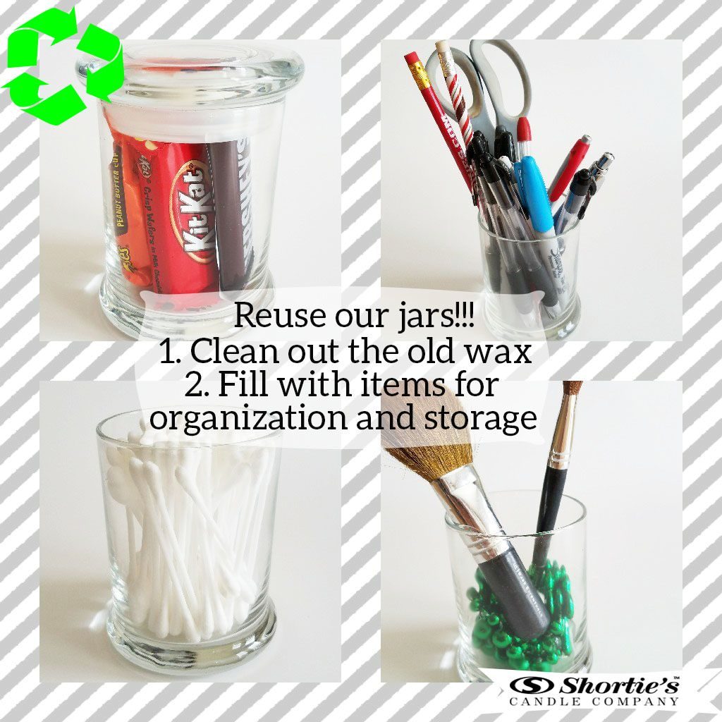 Reuse your old candle jars for organization and storage!