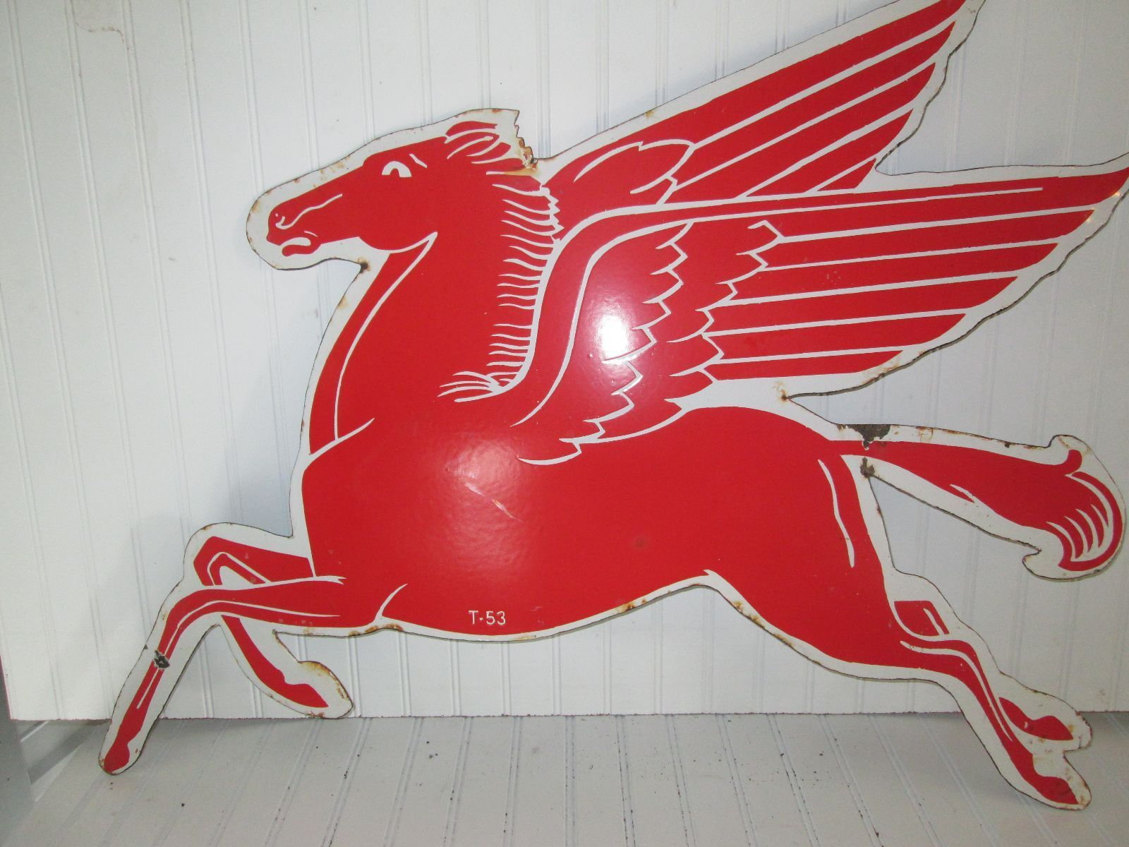 "12/"" MOBIL LEFT FACING PEGASUS GASOLINE GAS PUMP OIL TANK DECAL"