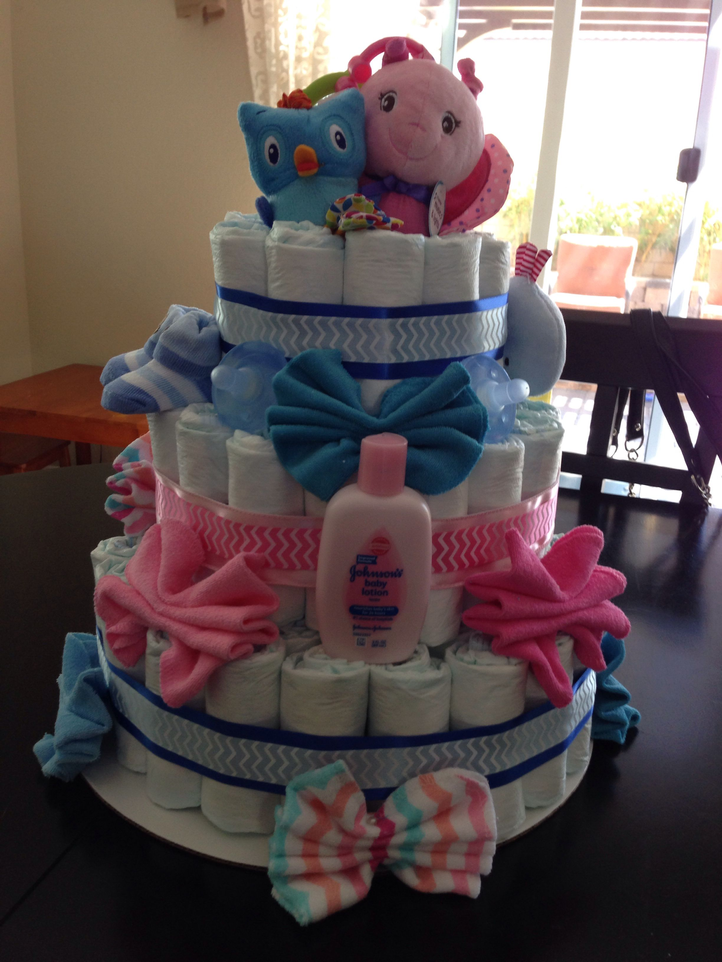 Gender Reveal Diaper Cake With Images Baby Gender Reveal
