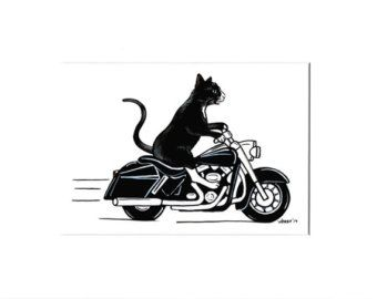 Cat Art Motorcycle Art Black Cat Caricature Cartoon