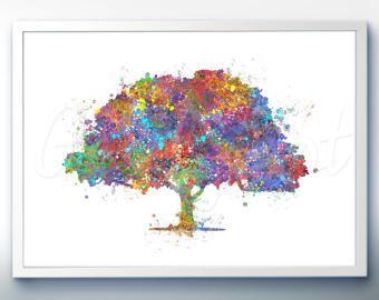 Bosque imprimir acuarela sal n hogar pintura arte for Pinturas para el hogar